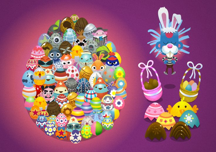Lukism: Luke Seguin-Magee. A bunch of eggs and a funny bunny, made for Tinkatolli (tinkatolli.com)