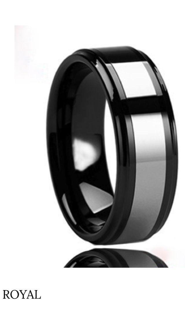 Men's Wedding Band | Royal is a jet black Tungsten ring that can be worn as wedding or fashion band. This band has a high polished surface with beveled edges for a smooth comfortable feel. The center is wrapped with a silver tungsten carbide. This band can be 8mm or 6mm and has multiple sizes. The Royal is exactly what it claims to be, Royalty.