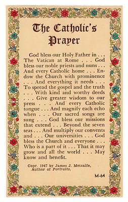 The Catholic's Prayer - Vintage Holy Card - 1947