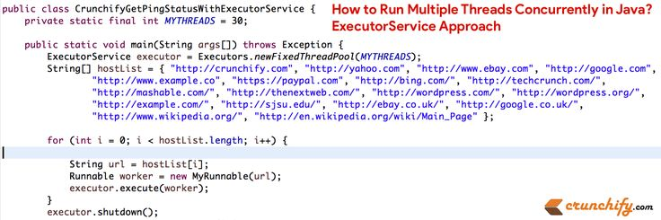How to Run Multiple Threads Concurrently in #Java? ExecutorService Approach https://crunchify.com/how-to-run-multiple-threads-concurrently-in-java-executorservice-approach/
