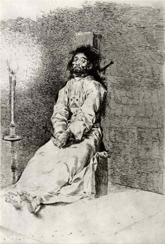 El agarrotado (grabado al aguafuerte)  - Francisco de Goya