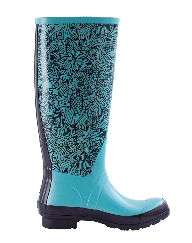 Women's Rain Boots – Monumenta Blue Floral | Oakiwear - Rain Gear, Kids rain suits, kids waders, kids rain gear, and kids rain coats