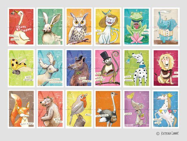 Tiere - 10 Bastel-Postkarten_Deine Wahl - ein Designerstück von KatrinaLange bei DaWanda