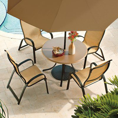 Telescope Casual Primera Stacking Patio Dining Chair (Set Of 4) Finish:  Textured Graphite