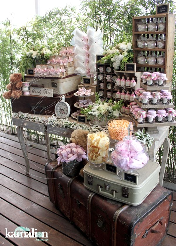 Love the idea of using suitcases to decorate, especially if we do exotic desserts from around the world.