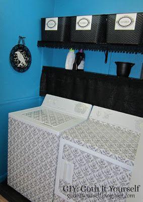 Damask Shelf Liner on Washer and Dryer