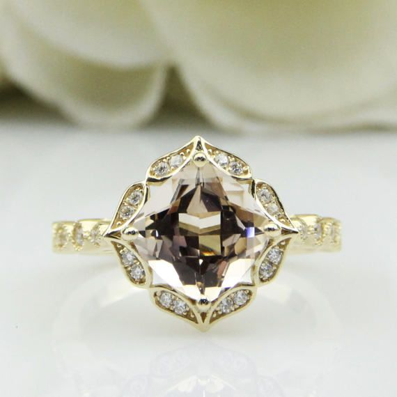 Fantacy Brilliant 8x8mm Natural Morganite Center Female Engagement Ring 14K Yellow Gold Ring For Women Natural White Topaz Accents(R0705)
