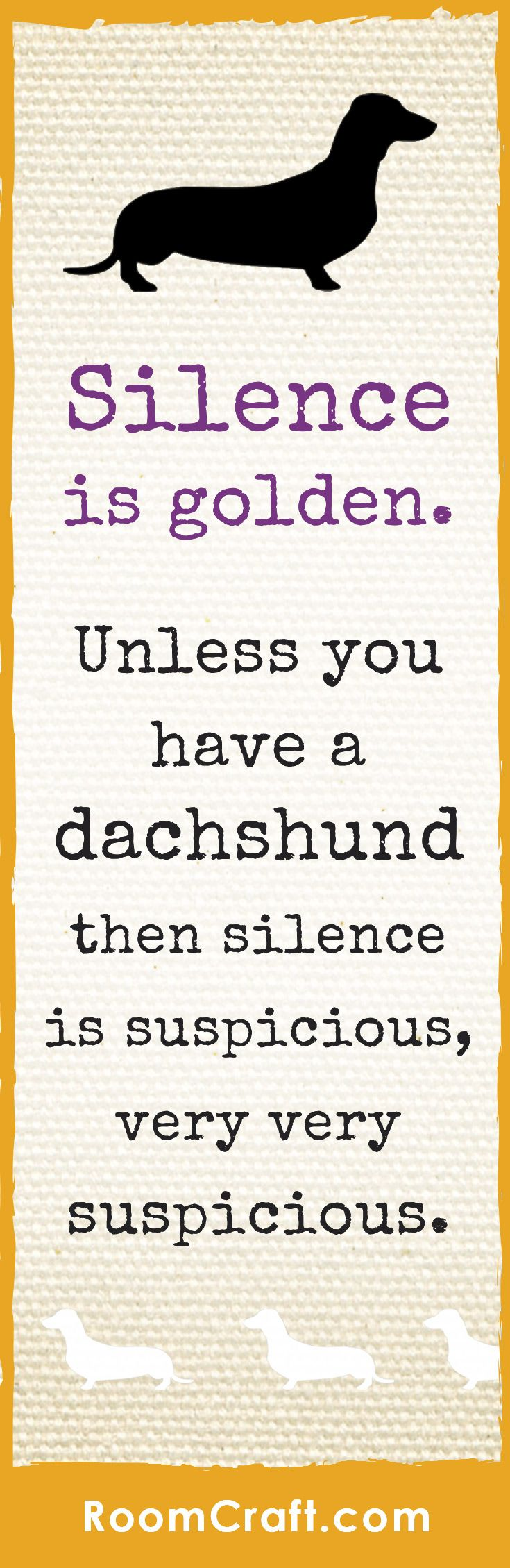 Silence is very suspicious when you have a dachshund, but you can't help loving those little mischievous sausage dogs. Roomcraft has this adorable dachshund design available on soft throw pillows and square wall canvases. They are perfect for any home, office or library. Save this to your inspiration board or click to find your favorite set now. They make decorating fun and easy! #roomcraft