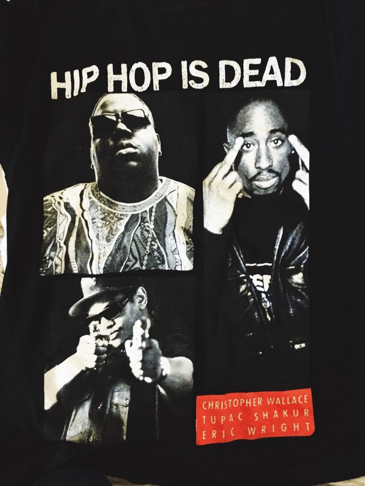 A personal favorite from my Etsy shop https://www.etsy.com/listing/264420057/biggie-tupac-hip-hop-is-dead-t-shirt