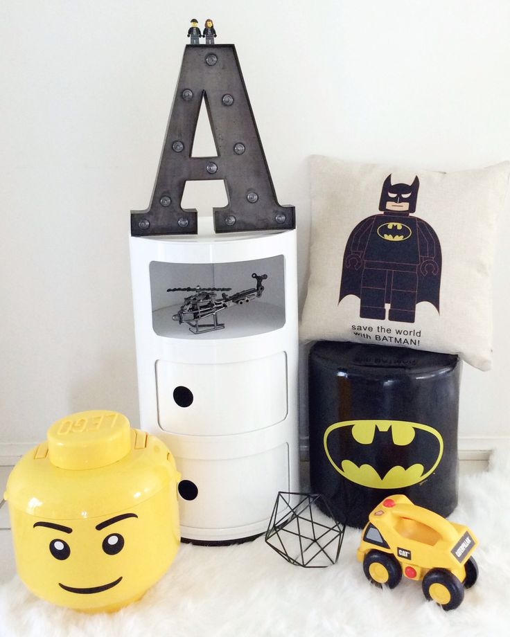 @mysweetsanctuary black and white and yellow monochrome boys bedroom decor batman lego helicopter modern