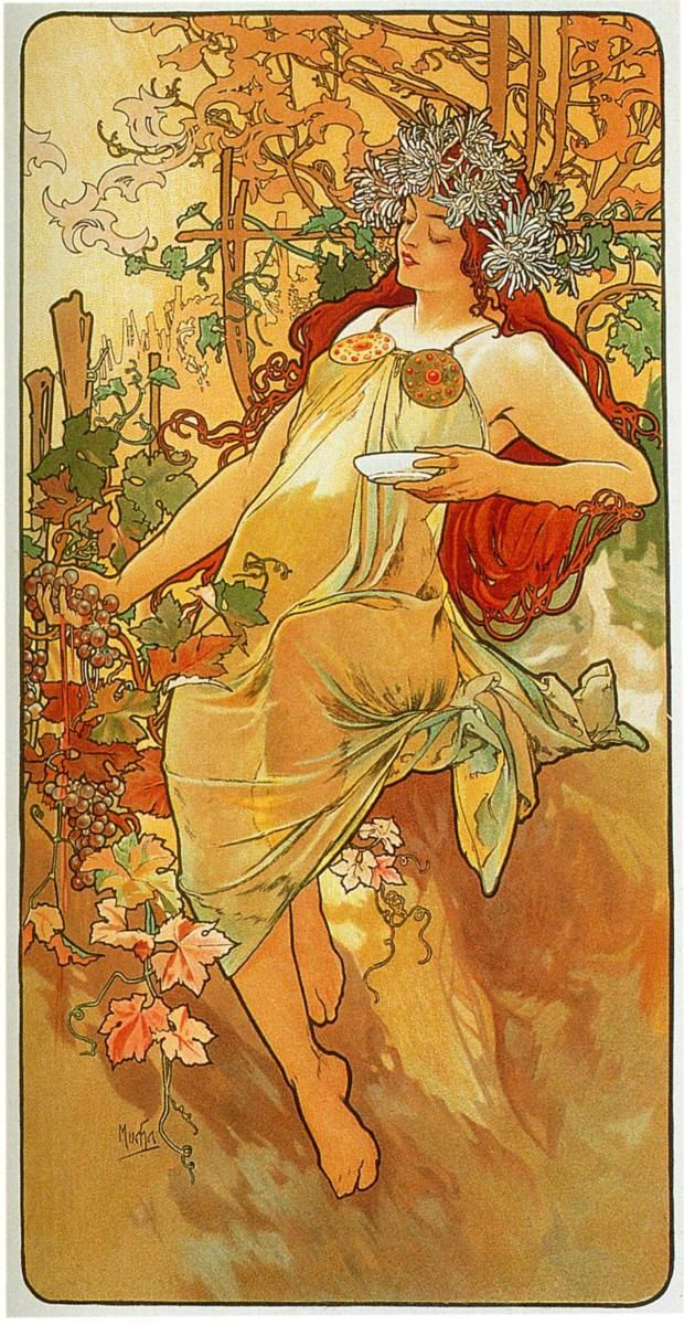 Page: The Autumn    Artist: Alphonse Mucha    Completion Date: 1896    Style: Art Nouveau (Modern)    Series: The seasons    Genre: allegorical painting    Technique: oil    Gallery: Private Collection    Tags: female-portraits