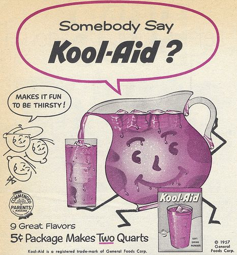 "Koop Aid reminds me of two things... Drinking extremely weak grape Kool Aid at my cousin's vacation Bible School one summer, and also the ice cube tray ""Popsicles"" that the neighbors use to make. You had to hold them in your hands and eat them while they melted all over the place!"