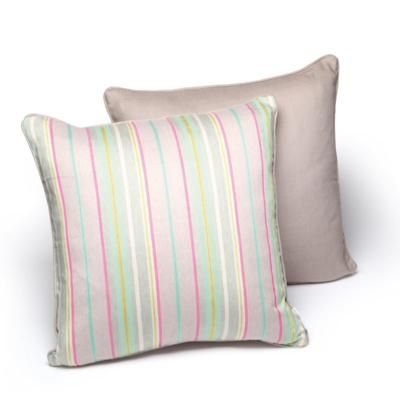 A beautiful large square striped cushion designed by Laura Fletcher.  50cm x 50cm duck egg (with stone back) duck feather cushion pad included. Available from www.newhousetextiles.co.uk