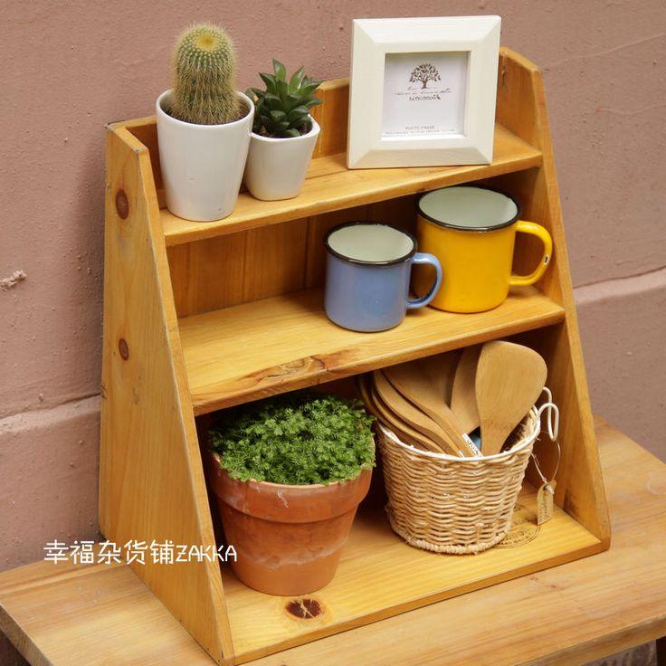 $23 Gift For Home Decor   ZAKKA Style Japanese Grocery Logs Three  Trapezoidal Shelf Shelves Wall