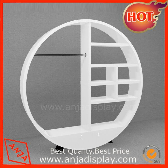 Portable Clothes Hanging Rack for Stores Wooden Standing Clothes Rack Retail Garment Store Racks