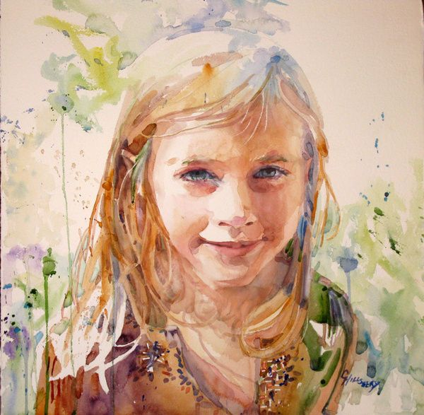 Carole Hillsbery -- watercolor portrait.  Lots of color.  Soft yet rich.
