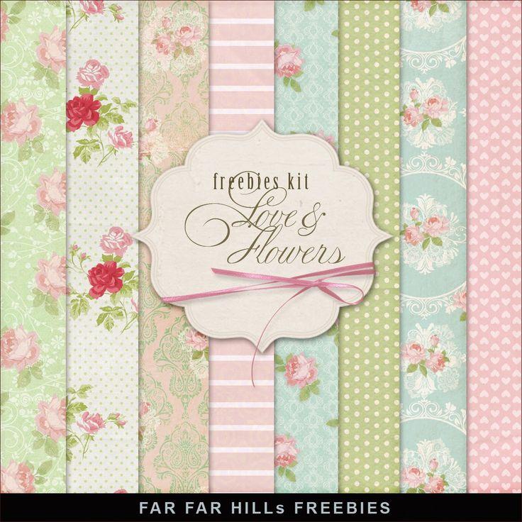 FREE Freebies Kit of Backgrounds - Love & Flowers By Far Far Hill