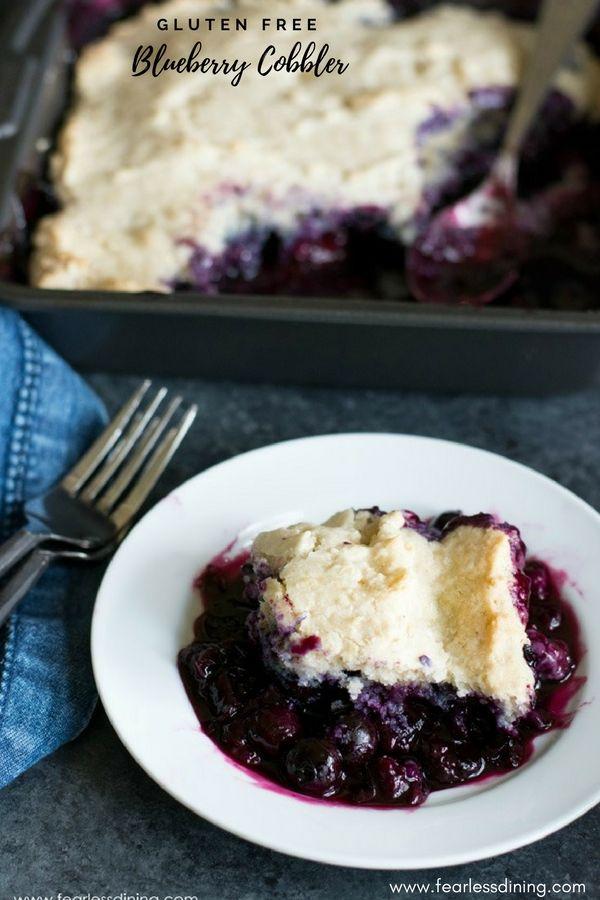You will love how easy this classic gluten free blueberry cobbler is to make. Recipe at www.grandmasglutenfreerecipes.com #homemadecobbler #blueberrycobbler #glutenfree