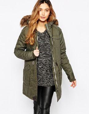 Minimum Parka With Faux Fur Hood & Deep Front Pockets