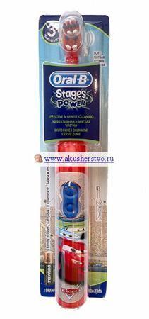 Oral-B Зубная щетка для детей на батарейках Stages Power  — 1345р.   Зубная щетка для детей Oral-B на батарейках Stages Power  Особенности:  Специальная технологическая разработка для детей – головка щетки Power Head осуществляет всестороннюю чистку, достигая, окружая и очищая все поверхности зубов;  Маленькая вращающаяся головка щетки совершает 9600 возвратно-вращательных дв./мин, которые тщательно выметают налет даже из труднодоступных мест;  Удлиненные щетинки Interdental Tips неподвижной…