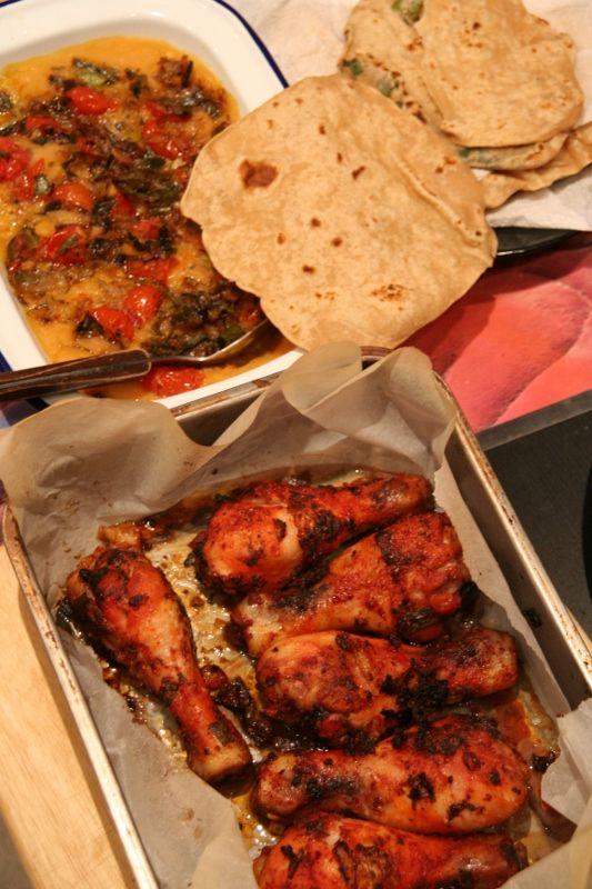 Tandoori Chicken Drumsticks & Yellow Split Pea Dhal