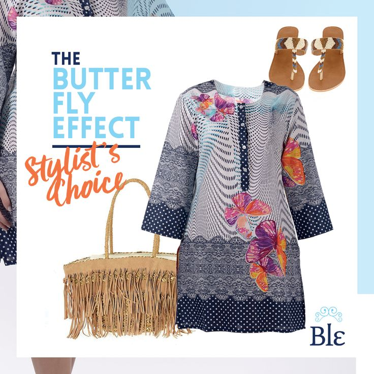 Butterfly patterns envelop something straight out of the '60s, creating the perfect carefree outfit to enjoy at the beach. Pair it with flat sandals and a nude beach bag to complete the look. Find them at www.ble-shop.com
