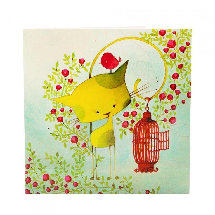 Pour célébrer en couleur! // Carte Carrée Oiseau en Cavale KETTO Square Card Bird on the Run // Carte carrée à vernis sélectif et embossage. Sans inscription. // Square card with selective varnish and embossment. Blank. // #CarteCarrée #SquareCard #Ketto
