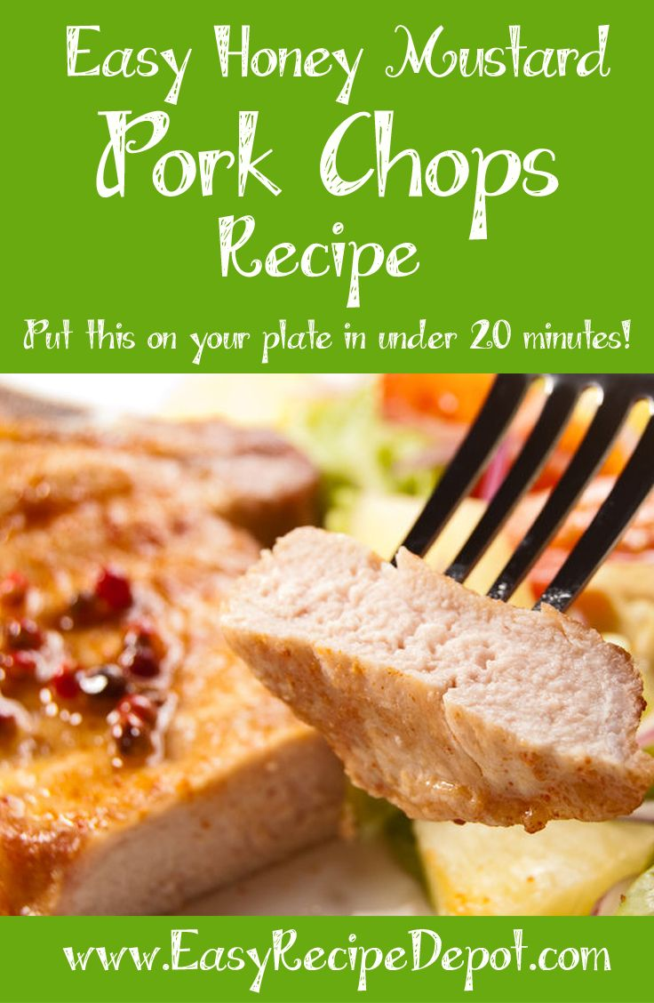 Delicious and easy recipe for Honey Mustard Pork Chops. Make this delicious recipe in under 20 minutes! You gotta give this a try.