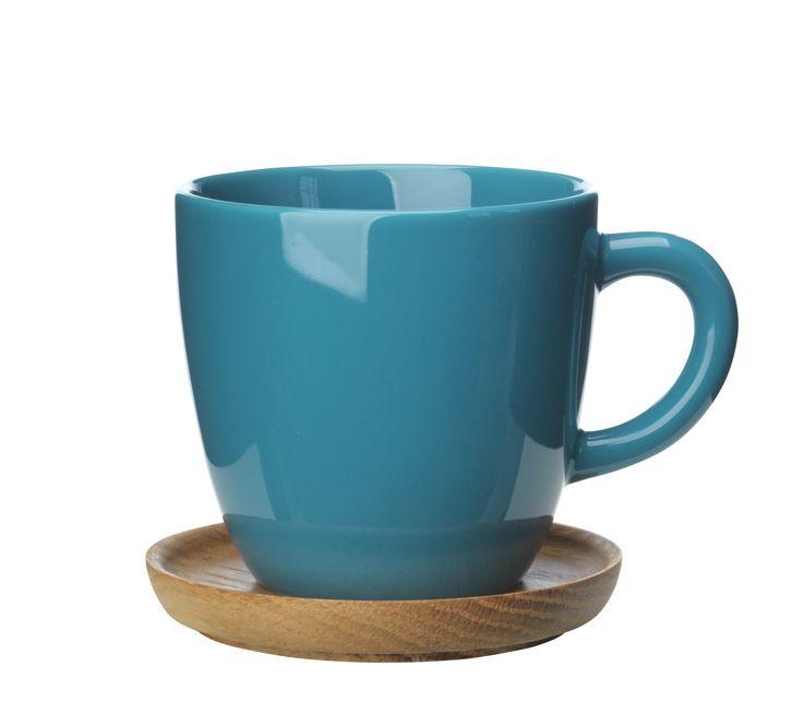 Osta Höganäs Keraaminen kahvikuppi + puualusta 33 cl, Vihreä - Rörstrand Kitchentimen verkkokaupasta
