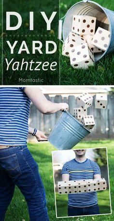 Take your family fun night outside this summer with DIY Yard Yahtzee. Yahtzee is great for counting skills and learning about healthy competition.