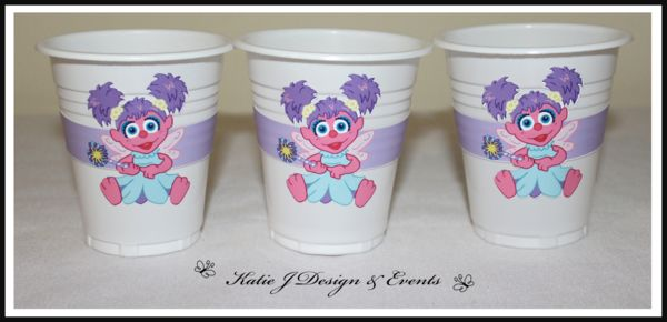 Cup Stickers #Abby #Cadabby #Sesame #Street #Pink #Purple #Girls #Birthday #Bunting #Party #Decorations #Ideas #Banners #Cupcakes #WallDisplay #PopTop #JuiceLabels #PartyBags #Invites #KatieJDesignAndEvents #Personalised #Creative