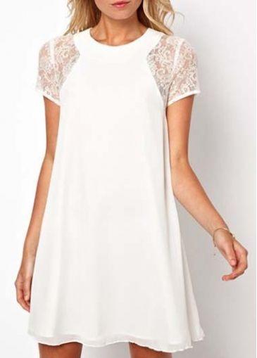 Pure Lace Sleeve Solid White A Line Dress on sale only US$17.48 now, buy cheap Pure Lace Sleeve Solid White A Line Dress at martofchina.com