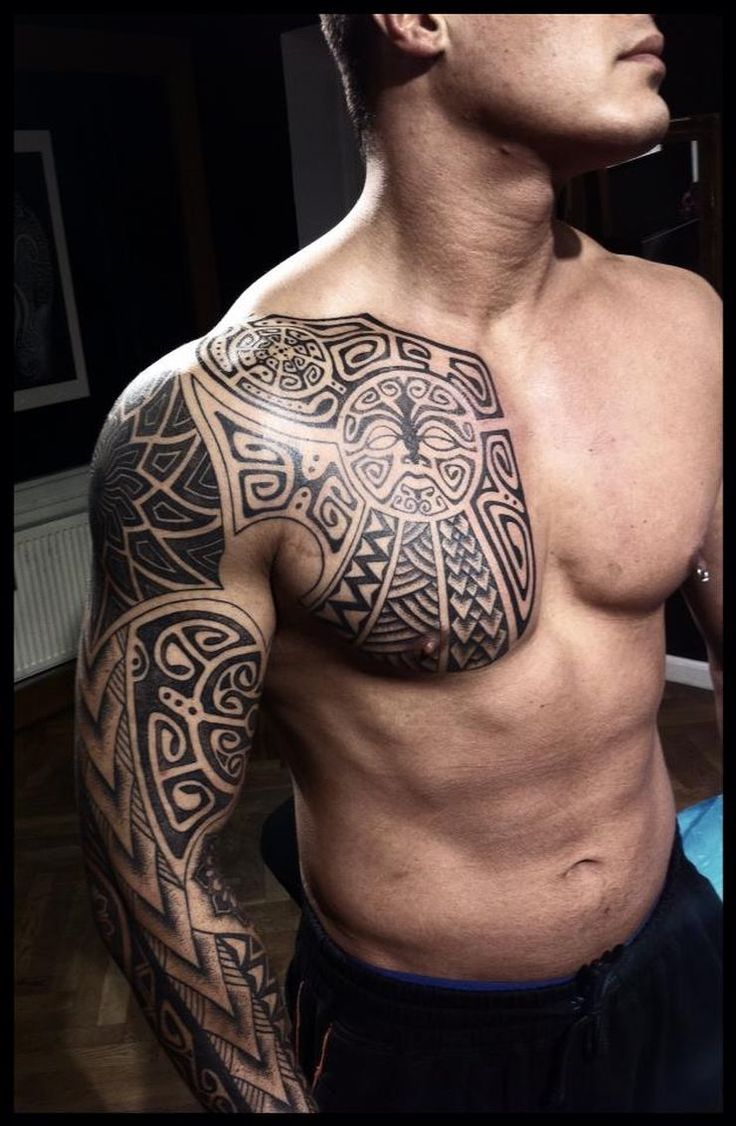 Polynesian tattoo on arm and chest - Vikings Tattoos By Peter Walrus Madsen A Mash Up Of Nordic Folk Art And