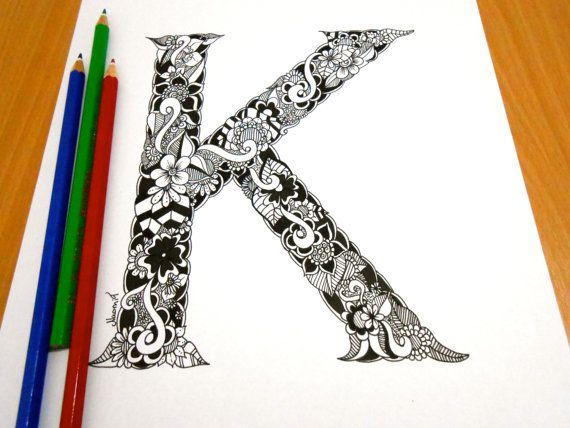 Letter K Decoration Coloring page Adult coloring by GardenDoodles