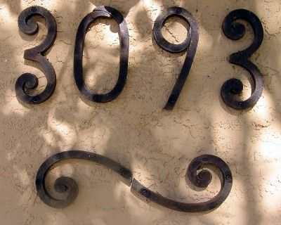 """Iron numbers. Simple and easy to see. """"Hacienda style house address numbers"""""""
