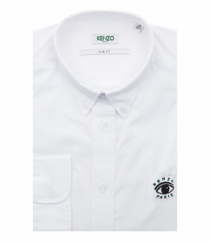 KENZO CASUAL FITTING SHIRT IN COTTON TWILL FT TIGER EMBROIDERY