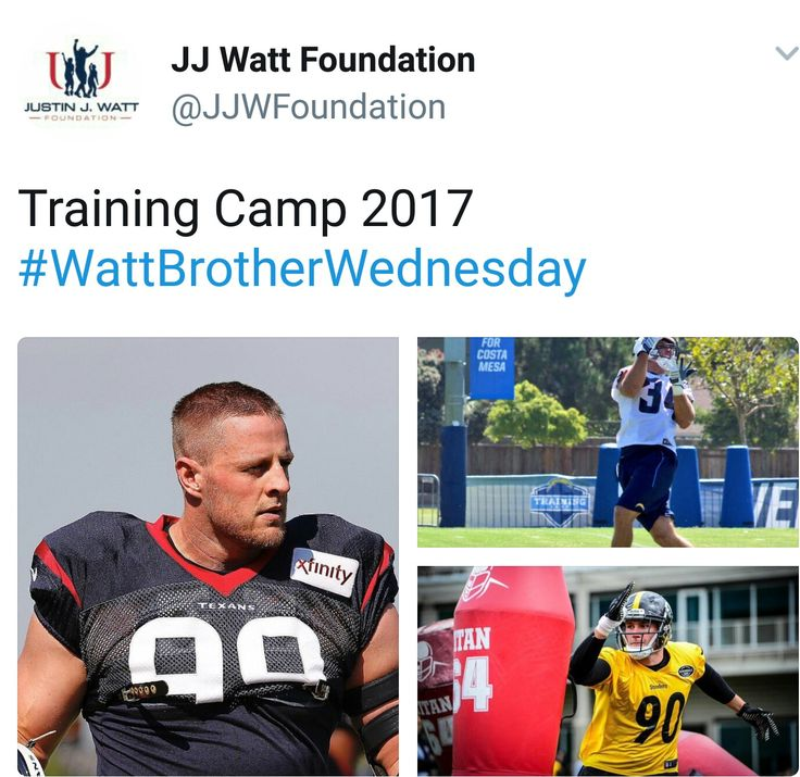 JJ Watt Foundation Twitter - 8.9.17 - Watt brothers at training camp - #DreamBigWorkHard #HuntGreatness #JustSomeKidsFromPewaukee #Justincredible #WattBrotherWednesday