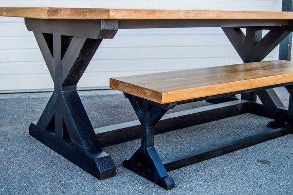 The Midnight Elm Farmhouse Dining Table Trestle Base X Base