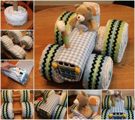 Tractor Diaper Cake Tutorial