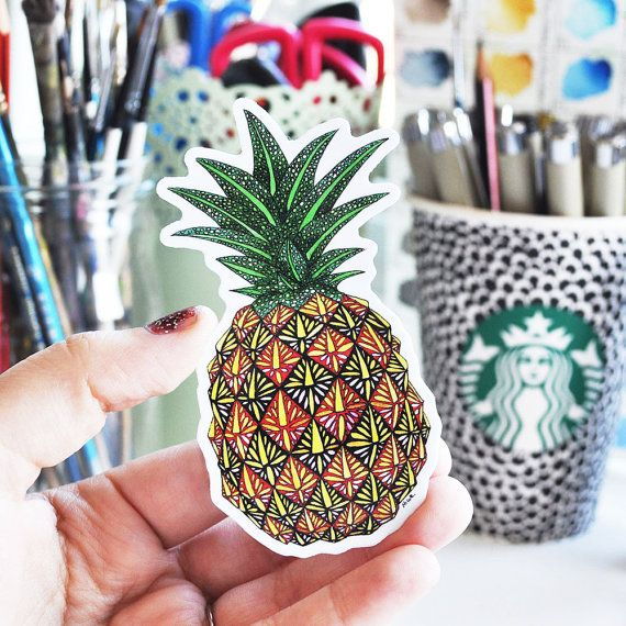 Pineapple Vinyl Waterproof sticker 5.08cm by 9.14cm 2inches by 3.6inches  This vinyl art sticker was printed from an original illustration