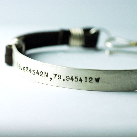 Leather Bracelet Cuff for men - Latitude Longitude Custom HandStamped for you - Jewelry for HIM - an original Studio Jewel design