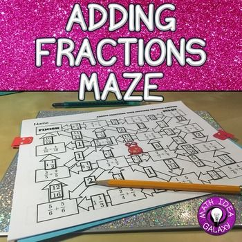 Adding Fractions maze is an engaging way to practice adding fractions with like…
