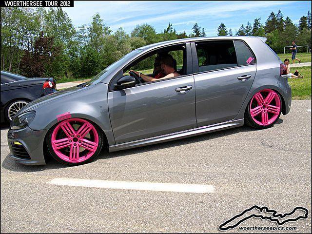 Grey Vw Golf Mk6 On Pink Wheels By Retromotoring Via Flickr