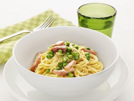 Spaghetti med skinksås och ärtor | Recept.nu