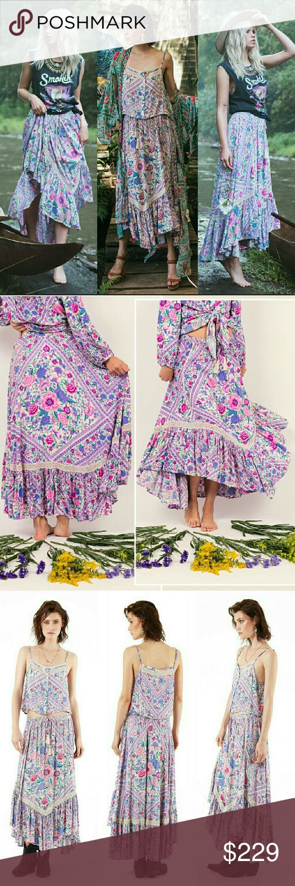 New spell designs babushka scarf maxi skirt purple Brand new with tag Babushka kerchief scarf maxi skirt in lavender wildflower floral print by spell designs & the gypsy collective. Extra Small. Features macrame crochet lace detailing with a flutter hem and a drawstring waist with tassel tie ends. No trade please. The price is firm. Price reflects high % posh fees *Don't like the price? Don't buy it & move on. All rude commenters, lowballers, & persons who advertise other websites or…
