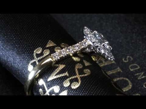 Juliet cushion halo. Collection McGuire Diamonds