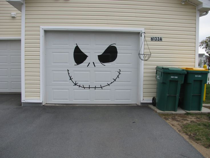 Halloween - My garage door - Jack the Pumpkin King (made out of electrical tape)
