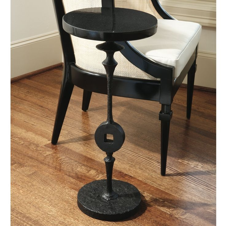 Black Spindle Drink Table With Marble Top. Home Decor, Original Artwork,  Lighting,