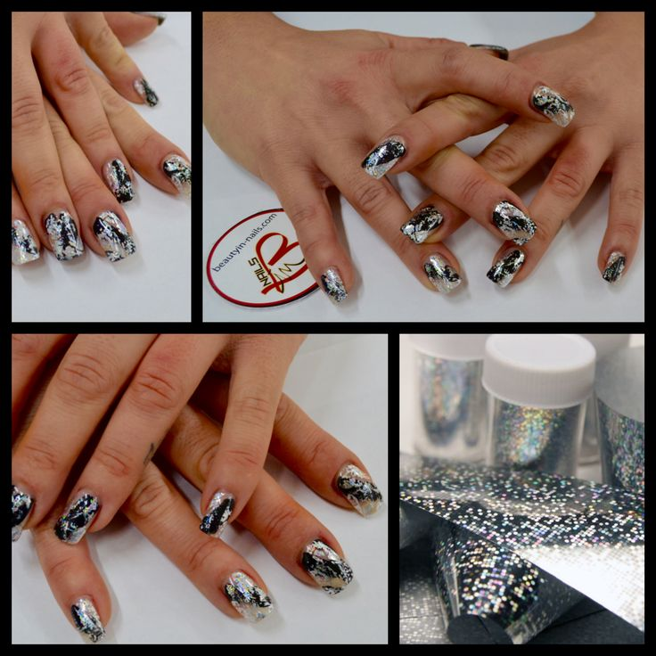 beauty in nails #nail art foil gel foil transfer  #nailart #foil gel black e foil transfer silver #beautyinnails