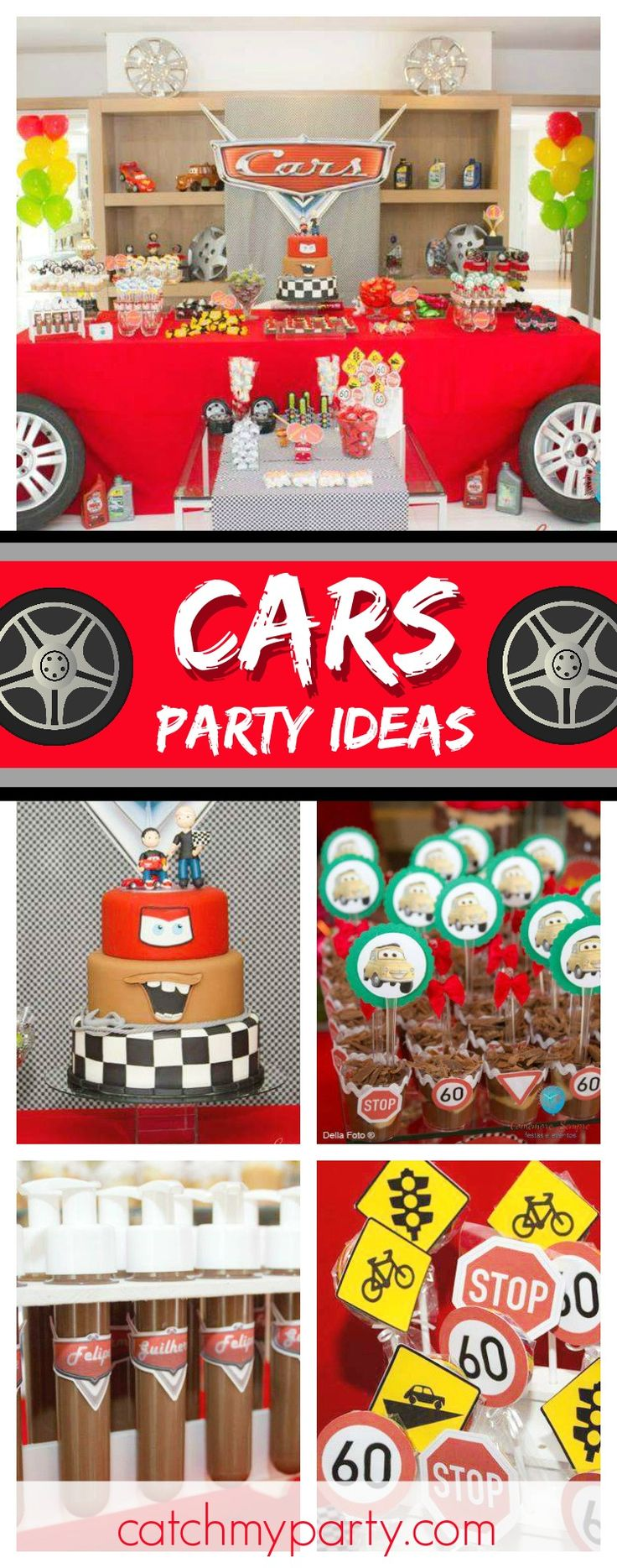 Check out this awesome Cars Birthday party! With Cars 3 coming out in the summer lots of little boys will be loving a party like this one! Love the dessert table! Seemoreparty ideas and share yours at CatchMyParty.com